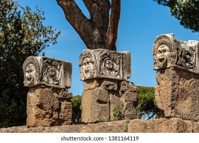 Theater masks from the decoration of the amphitheater in Ostia Antica, Roman colony founded in the 7th century BC. Rome, UNESCO world heritage site, Italy, Europe