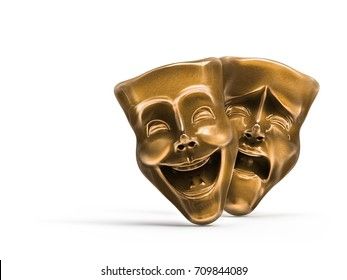 Theater masks, drama and comedy isolated on white / 3D Rendering