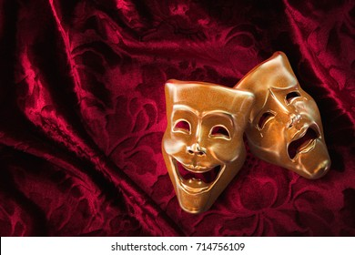 Theater masks, drama and comedy on a red curtain / 3D Rendering, Mixed media.