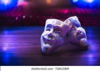Theater masks, drama and comedy on a dark background / 3D Rendering, Mixed media.