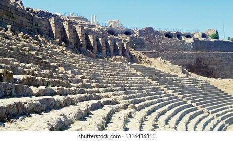 Theater of Pergamon Ancient City in Bergama, Izmir, Turkey. Acropolis of Pergamon. Old ruin.