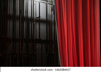 theater red curtain on backstage
