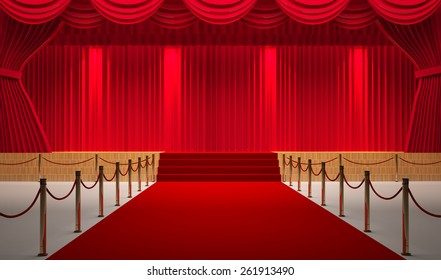 theater room with red carpet