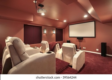 Theater room in upscale home