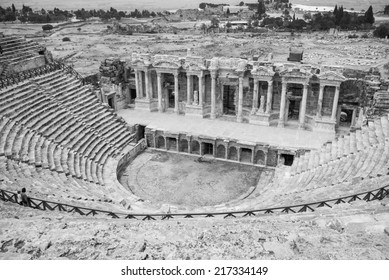 Theater ruins in the ancient city of Hieropolis, Pamukkale, Turkey