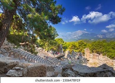 Theater ruins in the ancient city of Phaselis, Antalya province. Turkey