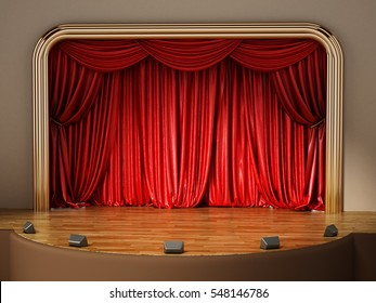 Theater stage with closed red curtain. 3D illustration.