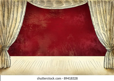 Theater stage with curtain