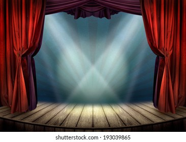 Theater stage with red curtains and spotlights. Theatrical scene in the light of searchlights, the interior of the old theater.
