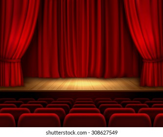 Theater stage with red velvet open retro style curtain background  illustration