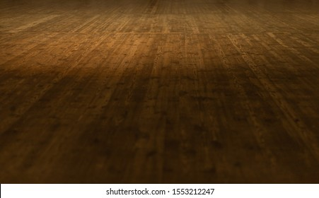 Theater stage and wooden floor lit by stage light.