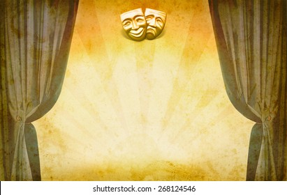 Theater vintage background with open curtains and masks. Art concept of theatrical classic decoration. Old theatrical scene - theater frame in retro style.