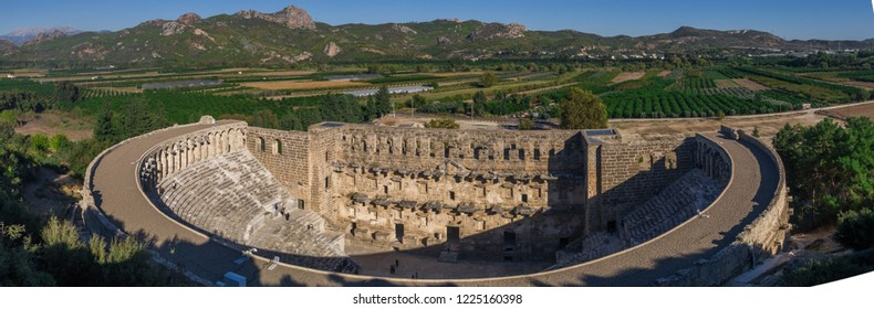 The Theatre of Aspendos Ancient City in Antalya. Aspendos or Aspendus was an ancient Greco-Roman city. Famous historical landmark of Turkey. Founded in the 5th century BC. Panoramic view.