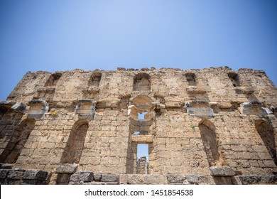 The Theatre of Aspendos Ancient City in Antalya. Aspendos or Aspendus was an ancient Greco-Roman city. Famous historical landmark of Turkey. Founded in the 5th century BC.