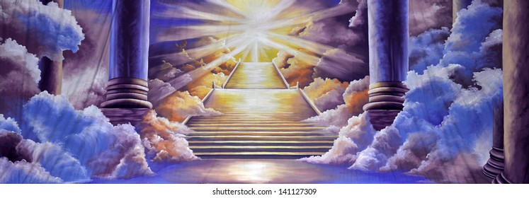 theatre backdrop featuring the entrance to heaven
