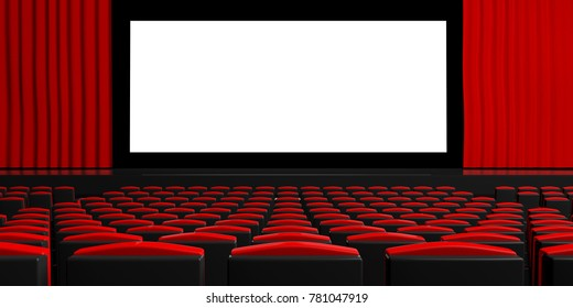 Theatre. Blank movie cinema screen with curtains, red empty chairs, space for text. 3d illustration