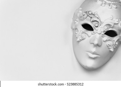 Theatre concept with the white plaster masks