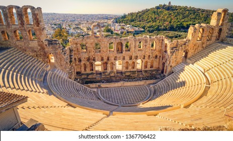 Theatre of Dionysus below the Acropolis in Athens, Greece is considered to be the worlds first theater aka Odeon of Herodes Atticus