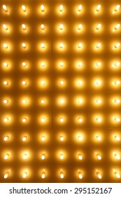 Theatre Lights. Rows of lights on a old theater marquee entrance.