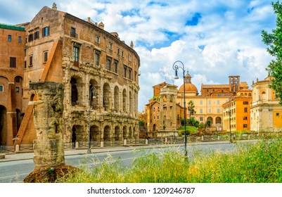 Theatre of Marcellus (Teatro di Marcello)  is an ancient open-air theatre in Rome, Italy. Rome architecture and landmark.