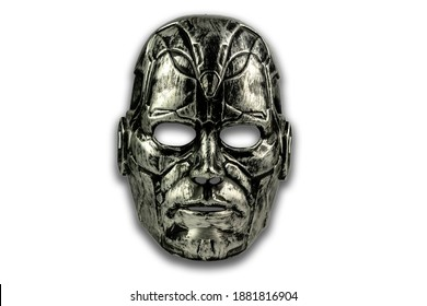 Theatre Masks. Drama and comedy. Black and white warrior mask, isolated on white background.