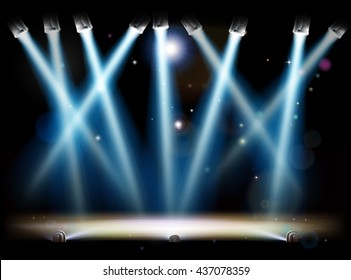 A theatre or theater stage and with footlights and spotlights
