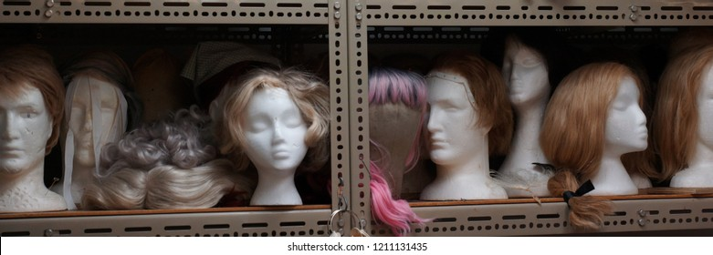 Theatre wig heads backstage