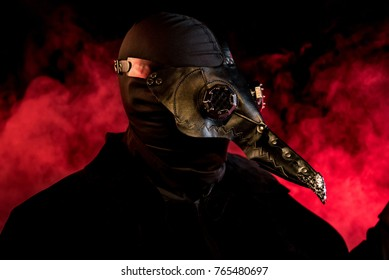 Theatrical lighitng, special effects, and a leather mask bring this evil plague doctor variation to life. Halloween/horror inspired