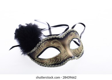 Theatrical mask on white background. With decorations