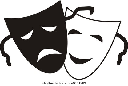 Theatrical masks - isolated illustration character. Theater - Tragedy and Comedy