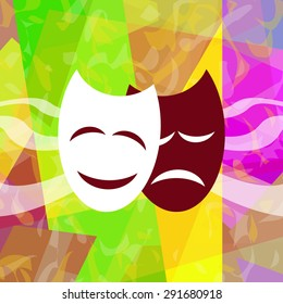 Theatrical masks on abstract background