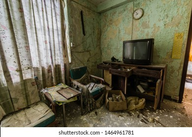 Thee interior of the abandoned house in Ma Wan village, Hong Kong