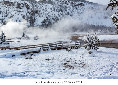 Theermal heat rises as mist during winter in Yellowstone..