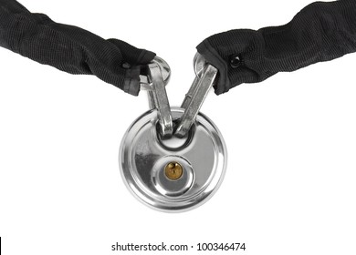 theft protection metal chain with lock isolated