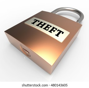 Theft Word Padlock Meaning Security Protection 3d Rendering