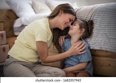 Their love is special. Mother and daughter at home.
