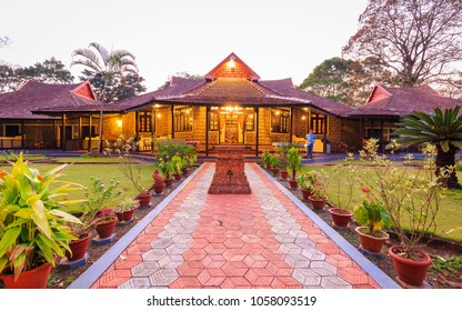 THEKKADY, IDUKKI, INDIA - MARCH 23, 2018: Beautiful night view of KTDC Lake Palace Resort, Thekkady, Idukki, Kerala. A former summer palace of The King of Travancore.