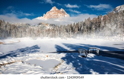 Thel Lake Lago Antorno in Italy in winter