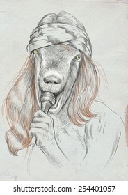 Theme: Music and Musicians. Goat Punk Singer. A hand drawn full sized illustration. Version: Freehand sketch on old paper.