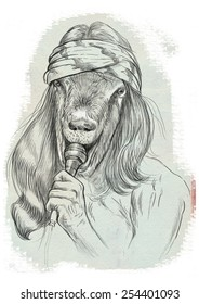 Theme: Music and Musicians. Goat Punk Singer. A hand drawn full sized illustration. Version: Freehand sketch on white.