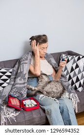 Theme old man and diabetes. older Caucasian woman with gray hair and wrinkles home on sofa measures glucose level blood with help medical device using blood glucose meter. In the hands of pet cat.