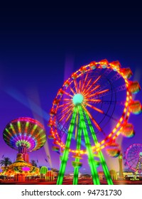 theme park motor rides game in evening view isolated on night view blue purple sky background