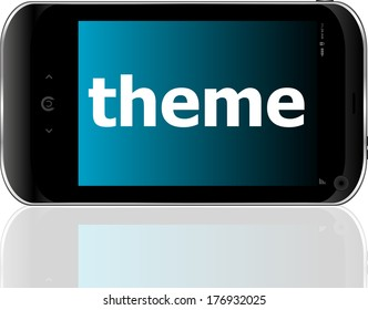 theme word on smart mobile phone, business concept