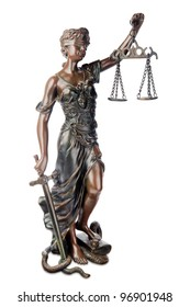 Themis, mythological Greek goddess, symbol of justice, blind and holding empty balance in one hand and sword in another, standing on defeated snake and book, isolated over white background