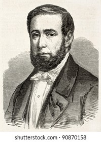 Theodore Chenneviere old engraved portrait, French textile manufacturer.  Created by Marc, published on L'Illustration, Journal Universel, Paris, 1858