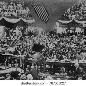 Theodore Roosevelt addressing the Progressive National Convention, August 6, 1912. He gave a 2 hour speech in which he attacked both the Republican and Democratic parties as undemocratic