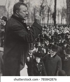 Theodore Roosevelt delivering a speech, Evanston, Illinois, April 2, 1903
