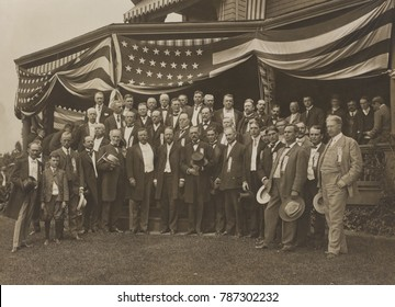 Theodore Roosevelt, receives the Republican Nomination Committee at Sagamore Hill, August 1904. As customary at this time, TR did not attend or address the national convention in Chicago in June 1904