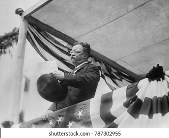 Theodore Roosevelt speaking on the day of his return from Africa and Europe, June 18, 1910. Already politicking, he said, I am eager and ready to do my part in helping solve problems which must be sol