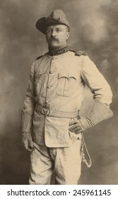 Theodore Roosevelt in the uniform of an Army Colonel during the Spanish American War. Commanded a volunteer regiment of 'Rough Riders' who gained fame with capture of San Juan Hill on July 1 1898.